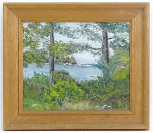 June Kempster, 20th century, Oil on board, A view of