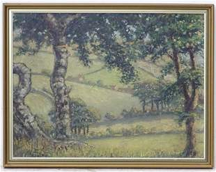 20th century, Oil on board, A rolling landscape with