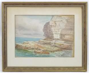 J. Lowe, Early 20th century, Watercolour, Fishing on