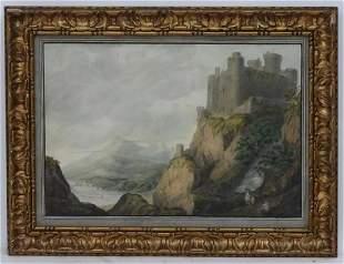 19th century, Watercolour, A mountainous coastal scene