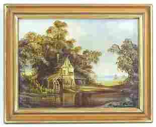 John Hooley, 20th century, Oil on canvas, A landscape