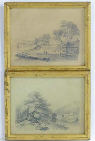 M. S., 19th century, A pair of pencil drawings, River