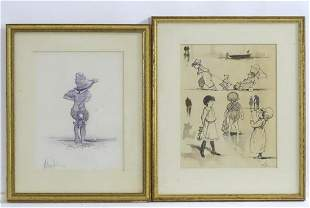 20th century, Ink and wash drawings, A child looking