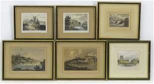 Six engravings depicting Bridgenorth, Shropshire, to