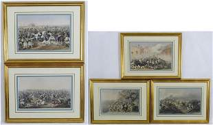 Five 19th century hand coloured lithographs after