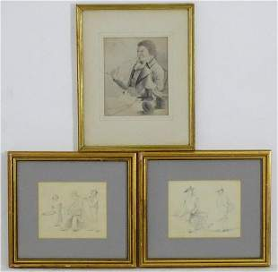 18th century, English School, Pencils on paper, Three