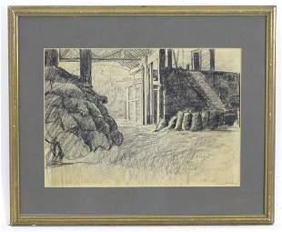 Bernard Sickert (1862-1932), Charcoal drawing, An