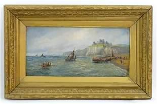 R Douglas, Late 19th century, Oil on canvas, A coastal