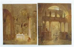 19th century, Continental School, Watercolours, A pair,
