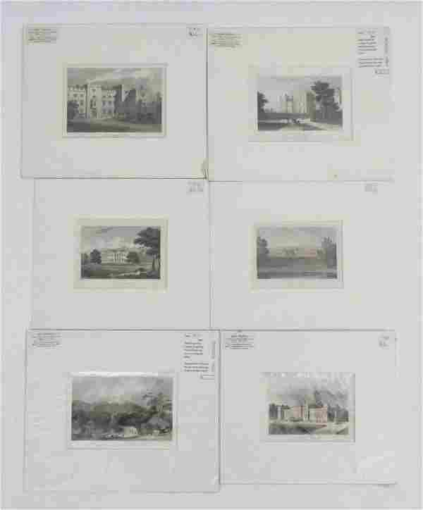 Six 19th century engravings comprising Stowe House,