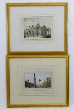 Two 19th century Venice engravings comprising Piazzette