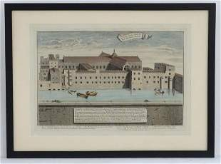 George Vertue (1684-1756), An 18thC hand coloured