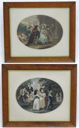 Two oval engravings The Masquerade, and The Breaking