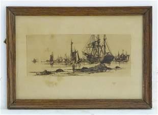Stephen Parrish (1846-1938), Marine School, Etching, In