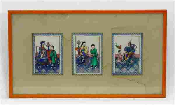 Three Chinese export gouaches on pith paper framed as