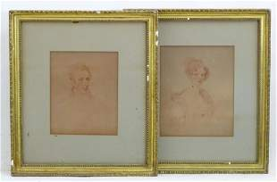 19th century, English School, Sanguine prints, Two