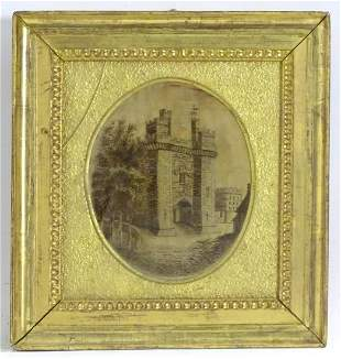 A 19thC embroidery on silk depicting a view of