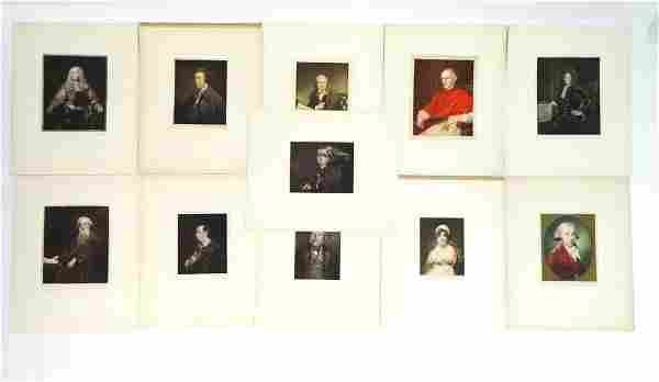 A collection of 11 mounted mezzotint portrait