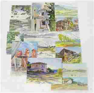 A folio of watercolour works by Peter Partington, XX,