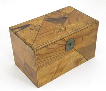 A 19thC specimen wood tea caddy with lacquered