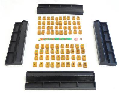 Toys: Early 20thC Bakelite / Catalin mahjong tiles and