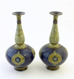 A pair of large Royal Doulton stoneware vases with