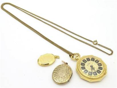 A 20thC Buler fob / pocket watch with chain and two