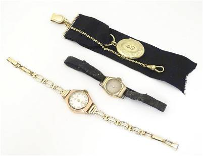 A 9ct gold cased ladies Avia wristwatch with rolled
