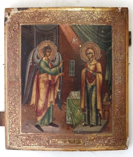 2: 18/19thC Russian Icon : ' The Annunciation ' set aga
