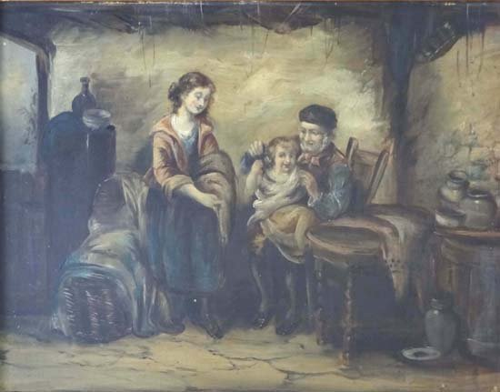 17: English School XIX Oil on canvas An interior with f