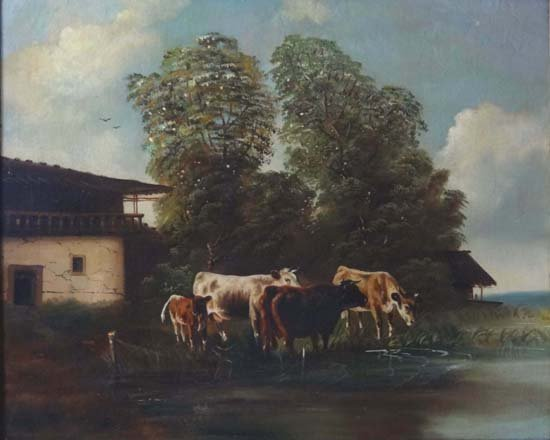 19: XIX German School Oil on canvas Cattle watering 22