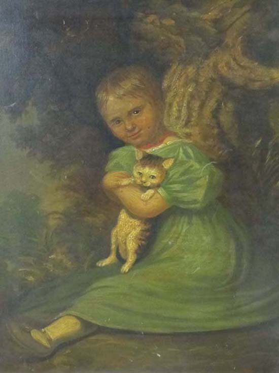 22: Victorian Niave Oil on Panel Young girl sat at the