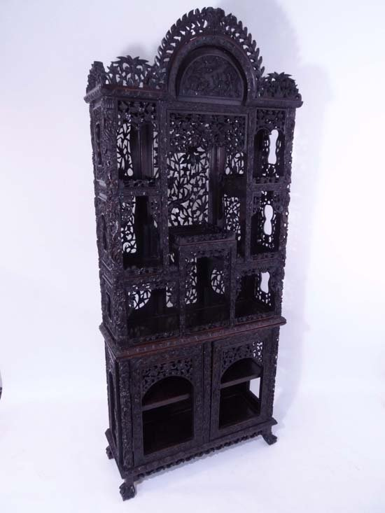100: A magnificent 19thC Anglo-Chinese padouk ( curio ?
