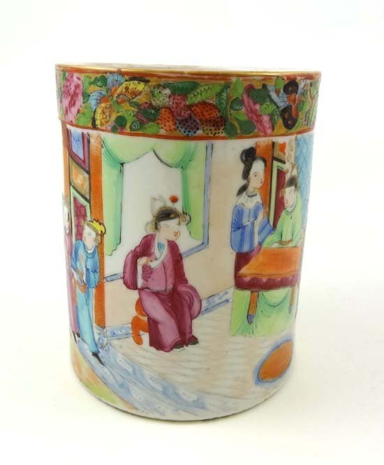 352: An 18thC Chinese famille rose Cantonese brush pot