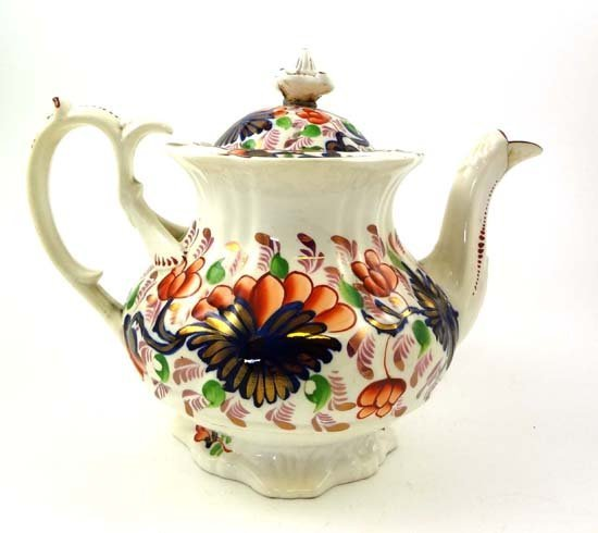 358: A Victorian Gaudy Welsh pottery teapot decorated i