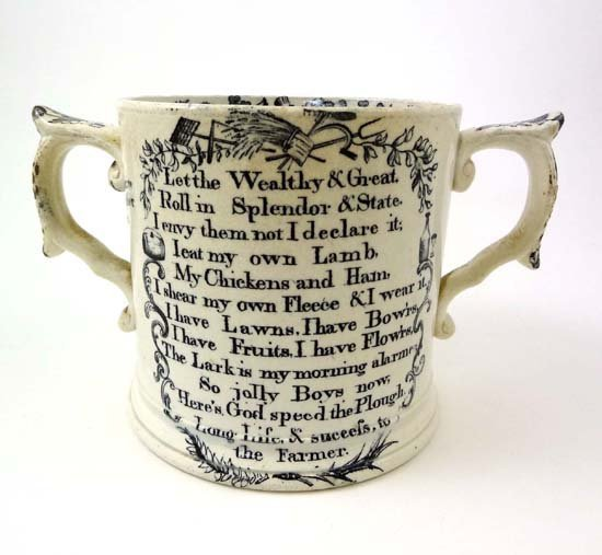 360: A Victorian loving cup printed in black with God S