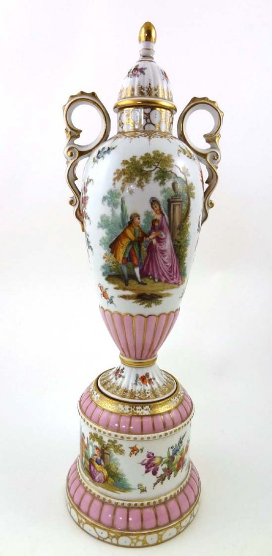 366: A Dresden tall vase and domed cover, the vase of n
