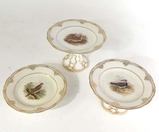 371: Mid 19thC Kerr & Binns Worcester porcelain ornitho
