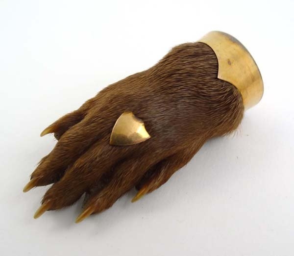 84: Taxidermy : a gold plated and mounted otters paw br