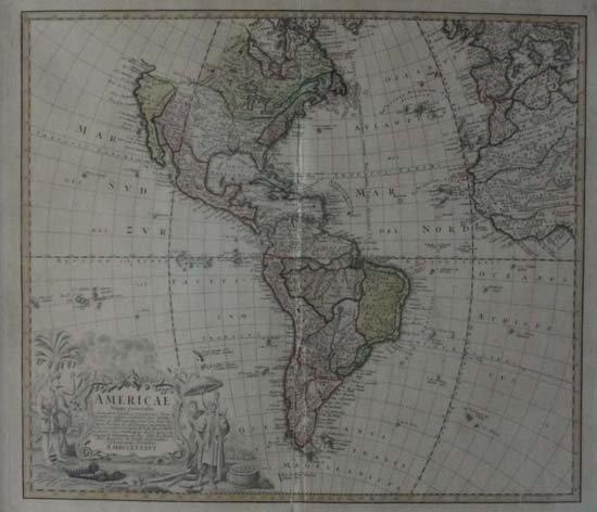 1: Map : Homann Heirs Americae Mappa Generalis Secundum