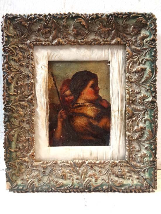 2: 18thC Old Master Oil on canvas Female figure, child
