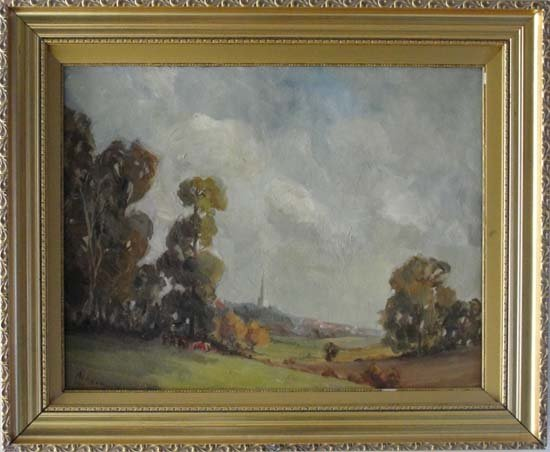 9: Akkerwood 1927 Oil on canvas Cattle grazing before a