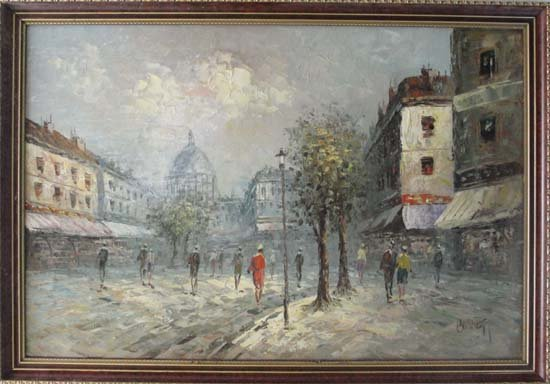 11: Burnett XX French Oil on board Paris street scene S