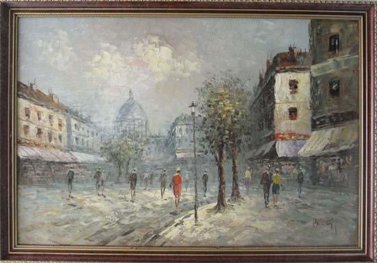 11: Burnett XX French Oil on board Paris street scene S