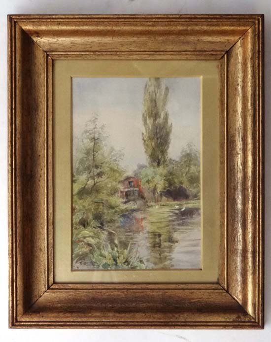15: A Raward Early XX Watercolour River Cottage Signed