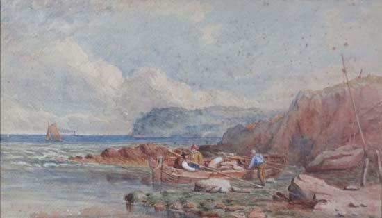 16: XIX English School Watercolour Fisherman landing a