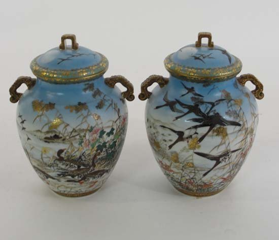 350: A pair of early 20thC Japanese 2-handled covered v