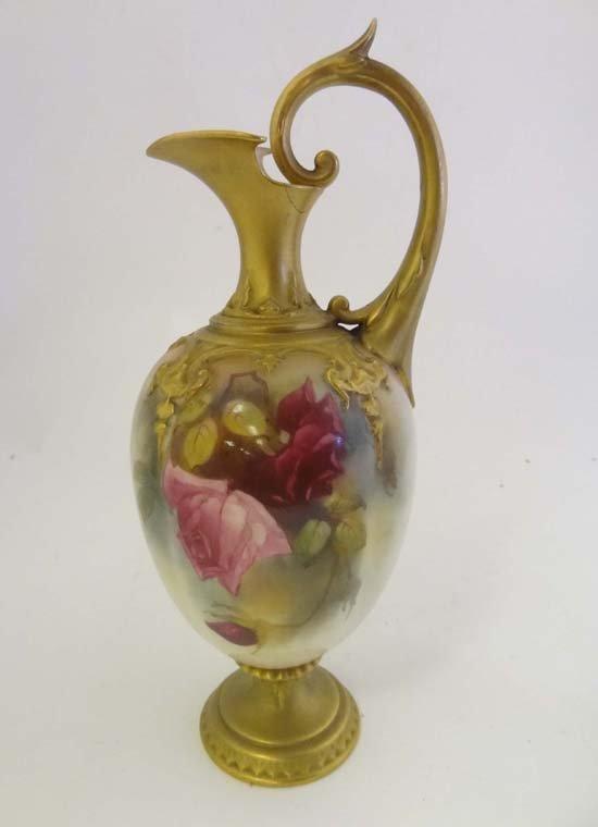 353: A fine Royal Worcester porcelain amphora shaped ew