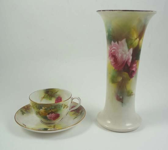 356: Early 20thC Worcester hand painted wares decorated
