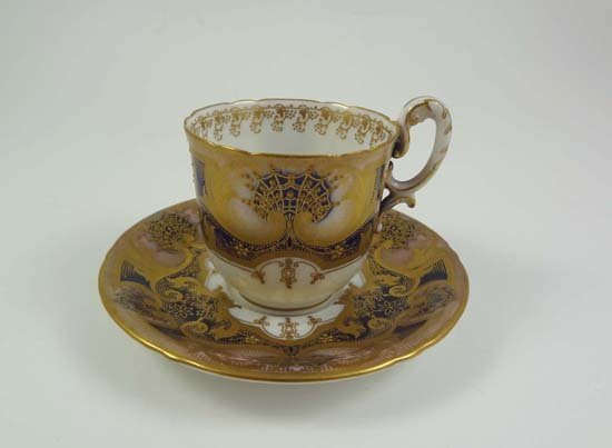 360: A Royal Worcester porcelain cup and saucer, patter